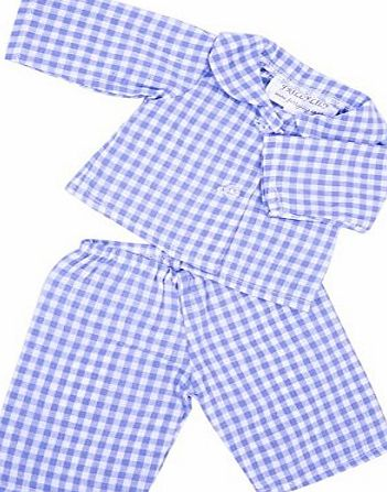 FRILLY LILY BLUE GINGHAM PYJAMA SET FOR 12-14 INCH [30-35CM] BABY DOLLS ,SUCH AS GOTZ,COROLLE,ZAPF,MY LITTLE BABY BORN,MY FIRST BABY ANNABELL